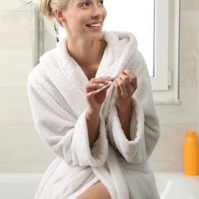 Bathtub Edge Woman Bathrobe Bathroom Everyday Life