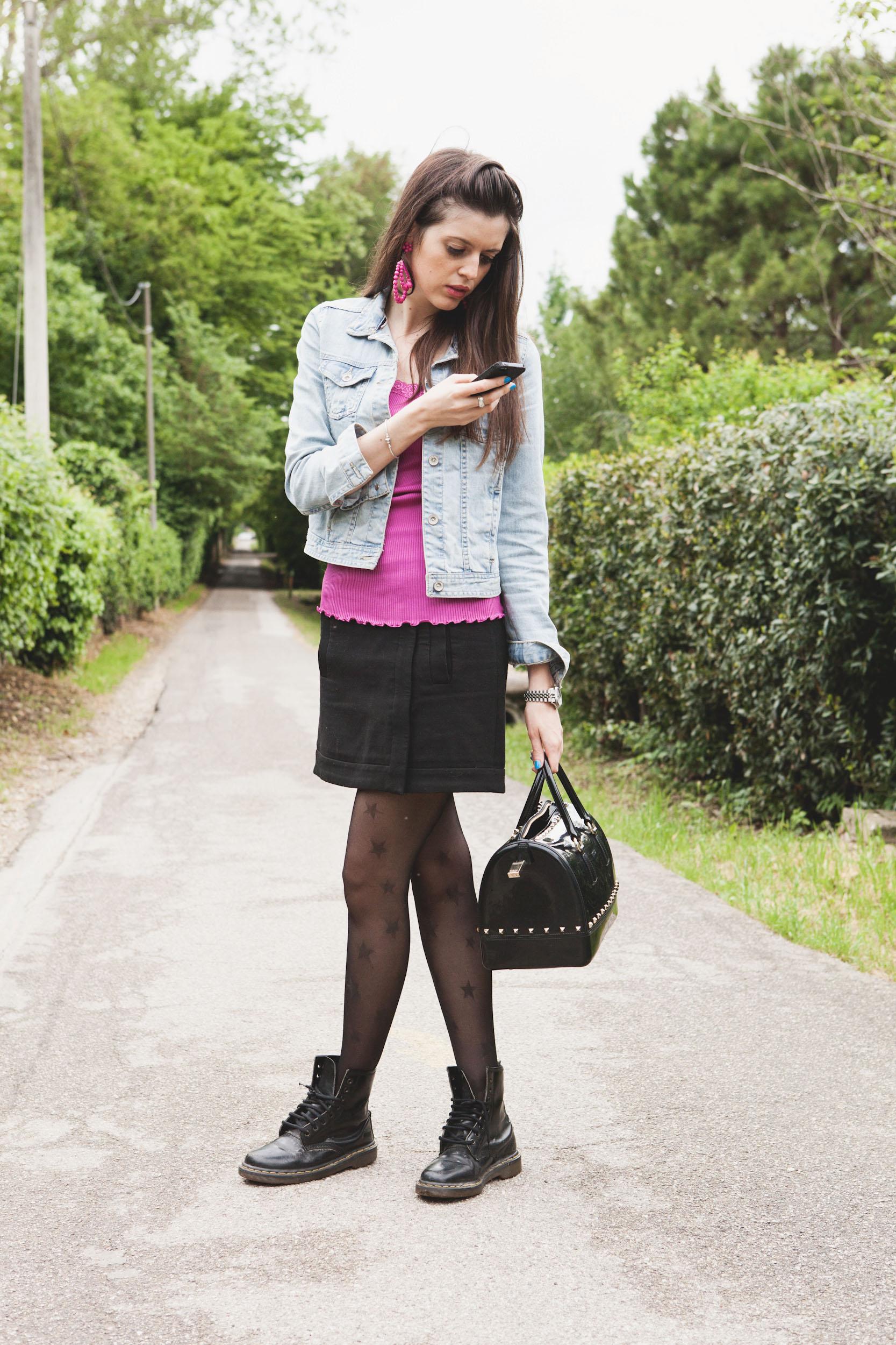 Abbinato Stelle Fucsia Outfit Con Jeans Le Giacchino In Calze A E vPxqwR45x