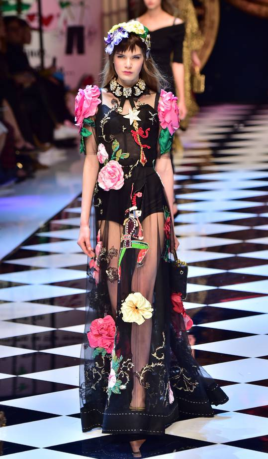 A model presents a creation for fashion house Dolce Gabbana as part of the Women Autumn / Winter 2016 Milan Fashion Week on February 28, 2016. AFP PHOTO / GIUSEPPE CACACE / AFP / GIUSEPPE CACACE (Photo credit should read GIUSEPPE CACACE/AFP/Getty Images)