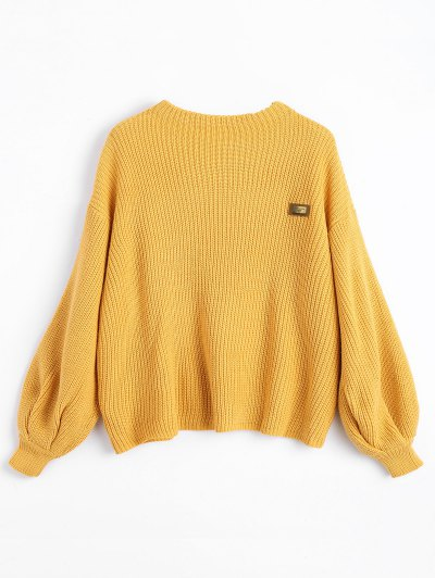Women SweaterOversized Chevron Patches Pullover Sweater